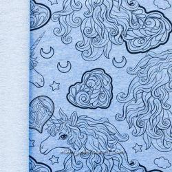 Sweat licornes chiné bleu clair