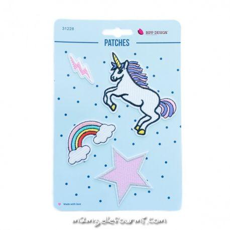 Lot de patches thermocollants unicorn lightning