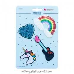 Lot de patches thermocollants rainbow guitar
