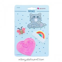 Lot de patches thermocollants cat heart