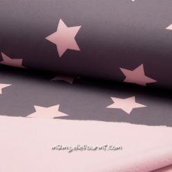 Softshell imprimé étoiles gris/rose