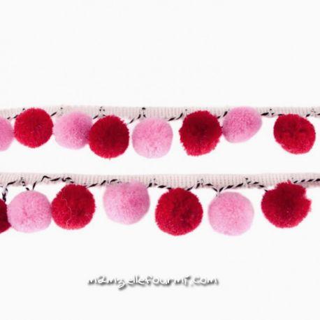 Galon à pompons rose/bordeaux