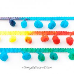 Galon pompons multi rainbow