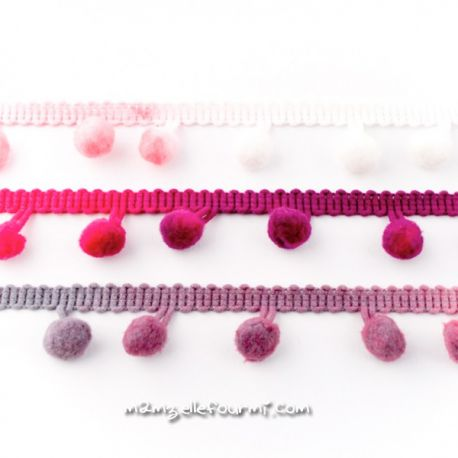 Galon pompons multi gris/rose