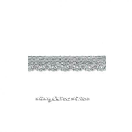 Élastique festonné gris