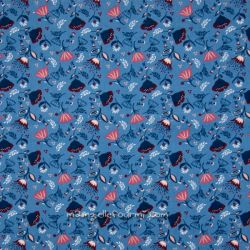 Velours flori bleu jeans