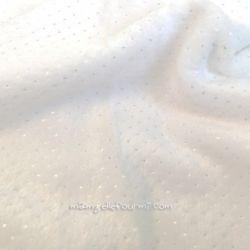 Fourrure doudou pois argent blanche