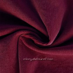 Velours milleraies stretch bordeaux