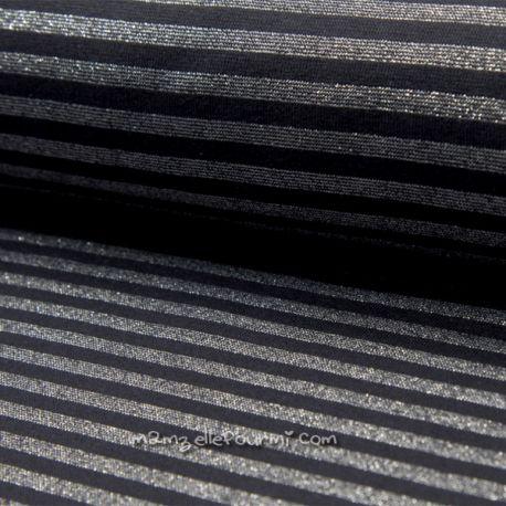 Bord-côte lurex rayé noir/argent