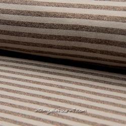 Bord-côte lurex rayé taupe/cuivre