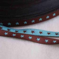 Ruban petites étoiles choco/turquoise