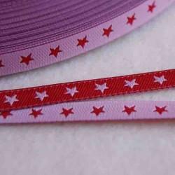 Ruban petites étoiles rose/rouge