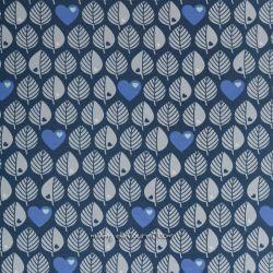 Molleton feuilles bleu jean