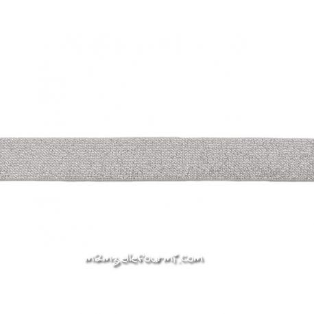 Élastique 25 mm lurex gris