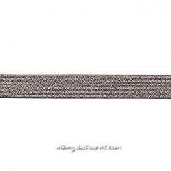 Élastique 25 mm lurex argent noir