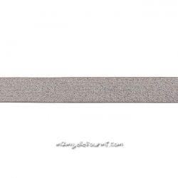 Élastique 25 mm lurex argent taupe