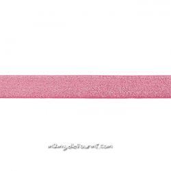 Élastique 25 mm lurex argent fuchsia