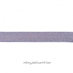 Élastique 25 mm lurex argent mauve