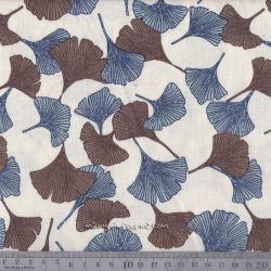 Viscose/lin gingko bleu/marron