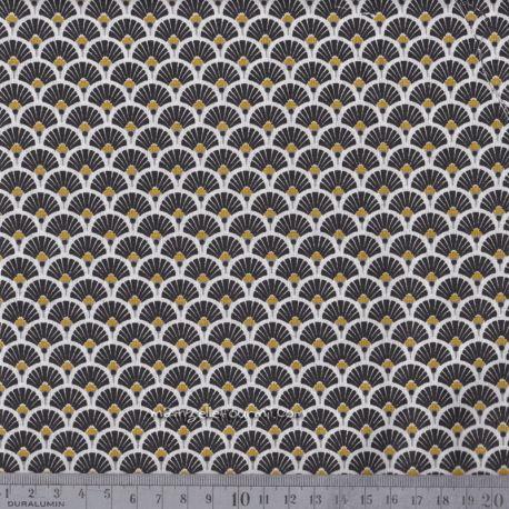 Cretonne éventails dorés noir