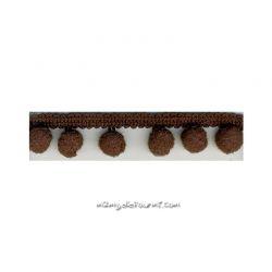 Galon petits pompons chocolat