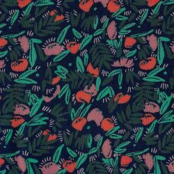 Viscose jungle de fleurs dark