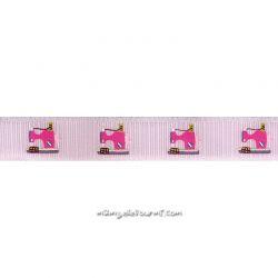 Ruban machine à coudre rose