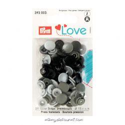 Pressions Prym rondes assortiment gris/noir