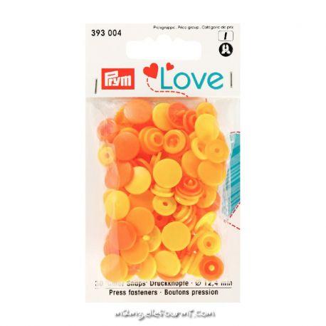 Pressions Prym rondes assortiment jaune/orange