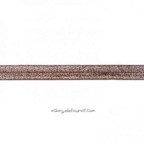 Biais élastique préplié scintillant chocolat