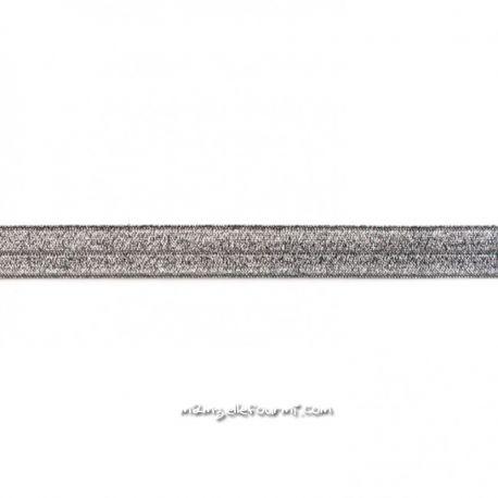 Biais élastique préplié scintillant anthracite