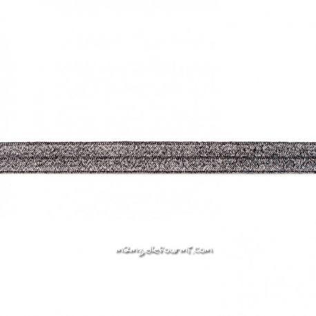 Biais élastique préplié scintillant noir