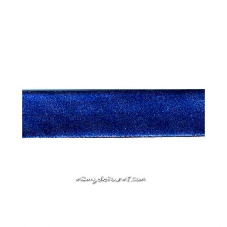 Biais stretch métal bleu roi