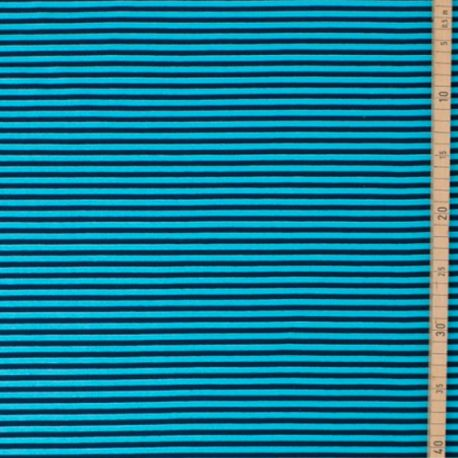 Jersey bio stretch rayé marine/turquoise