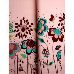Jersey bordure fleurs rose