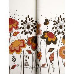 Jersey bordure fleurs blanc