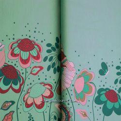 Jersey bordure fleurs naïves vert