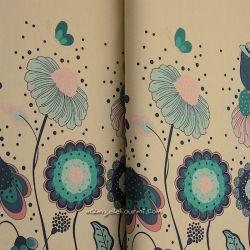 Jersey bordure fleurs naïves sable