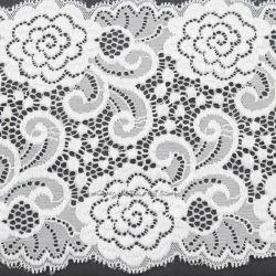 Dentelle élastique large petites fleurs blanche