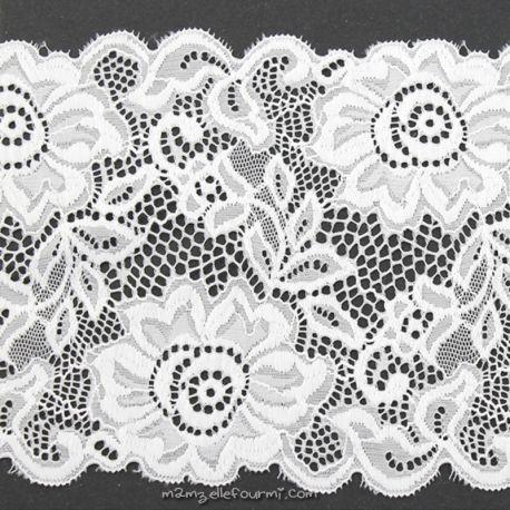 Dentelle élastique large grosses fleurs blanche
