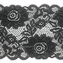 Dentelle élastique large grosses fleurs noire