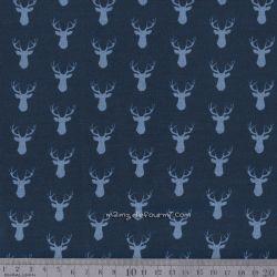 Coton cerfs bleu