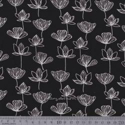 Viscose fleurettes blanc sur noir
