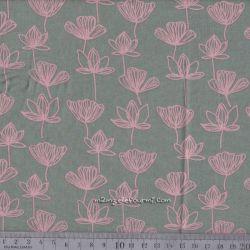 Viscose fleurettes rose sur vert
