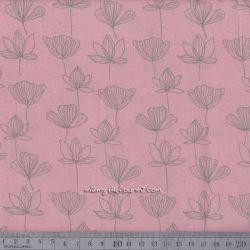 Viscose fleurettes vert sur rose