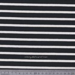 Sweat rayé blanc sur noir