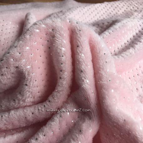 Fourrure doudou pois argent rose pâle