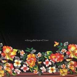 Jersey viscose panneau fleuri