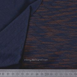 Matelassé double face chiné navy/orange