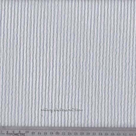 Seersucker rayé gris clair